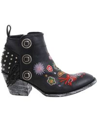 Mexicana Black Embroidered Ankle Boots