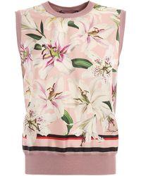 Dolce & Gabbana - Lilium Print Silk Sleeveless Sweater - Lyst