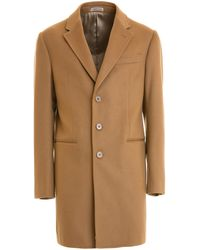 Armani T Line Wool And Cashmere Short Coat - Natural