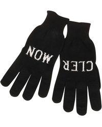 Moncler Logo Knitted Wool Gloves - Black