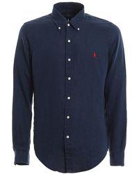 Polo Ralph Lauren Navy Button Down Collar Linen Shirt - Blue