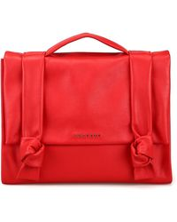 Orciani Red Lotus Leather Bag With Two Knots