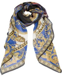 Versace Baroque Print Lightweight Silk Shawl - Blue