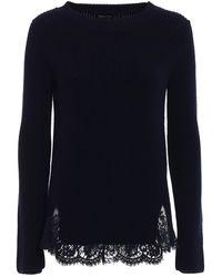 Ermanno Scervino Lace Detailed Blue Wool Jumper