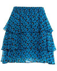 Michael Kors Floral Print Crêpe Skirt - Blue