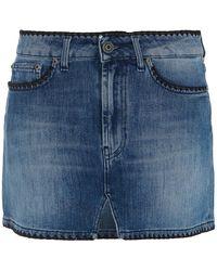 Dondup Embroidered Trims Denim Mini Skirt - Blue