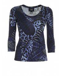 Class Roberto Cavalli - T-shirt maniche tre quarti nera e blu - Lyst