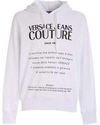Versace Jeans Couture Felpa Bianca Stampa Etichetta Logo - Bianco