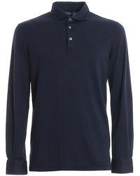 Fedeli Zero Organic Cotton Long Sleeved Polo - Blue