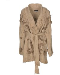 Alanui Fringed Long Cardigan In Beige - Natural