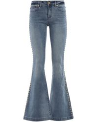 Michael Kors Selma Stud Embellished Flared Jeans - Blue