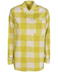 Massimo Alba Checked Shirt In Acid Green Colour