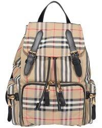 Burberry Nylon Vintage Check Rucksack Bag - Natural