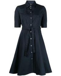 Aspesi Cotton Shirt-dress With Belt - Blue