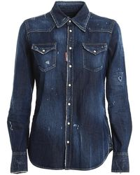 DSquared² Scratches Detailed Shirt - Blue