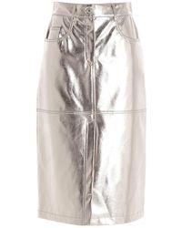 MSGM Laminated Skirt - Metallic