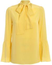Michael Kors Yellow Silk Pussy Bow Fastening Blouse