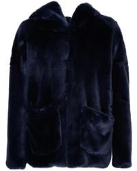 L'Autre Chose Short Faux Fur Coat - Blue