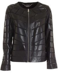 Clips Nude Details Leather Jacket In Black