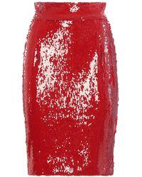 Dondup Embellished Pencil Skirt - Red