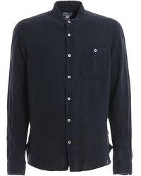 Woolrich Linen Mandarin Collar Shirt - Blue