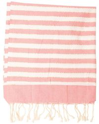 Mc2 Saint Barth Lame Detail Beach Towel In White And Pink