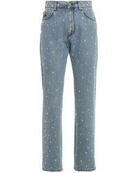 Philosophy Di Lorenzo Serafini Jeans Vita Alta Con Strass Blu