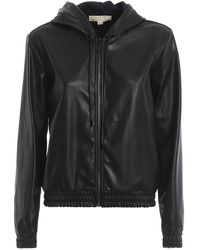 Michael Kors Leather Effect Hooded Bomber Jacket - Black