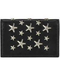 Jimmy Choo Nello Star Studded Leather Wallet - Black