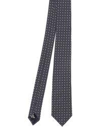 Emporio Armani Polka Dot Patterned Silk Tie - Blue