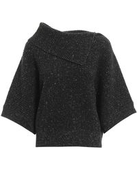 Peserico Wool And Lurex Wide Sleeve Sweater - Gray