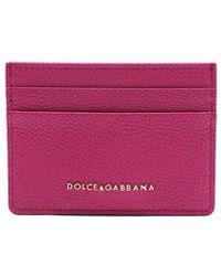 Dolce & Gabbana Fuchsia Grained Leather Card Holder - Purple
