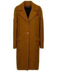 Malloni Brushed Wool Coat - Yellow