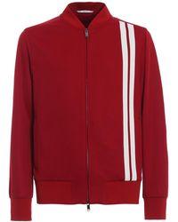 Valentino Full Zip Acrylic Sweater - Red