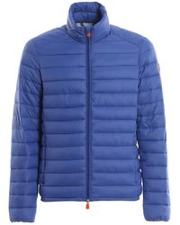 Save The Duck - Light Blue Quilted Light Puffer Jacket - Lyst