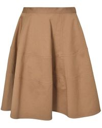 Aspesi Short Full Skirt In Biscuit Colour - Natural