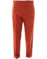 PT Torino Pantaloni chino in cotone e lino - Arancione
