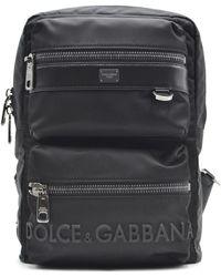 Dolce & Gabbana Sicilia Dna Nylon Backpack With Rubberized Logo - Black