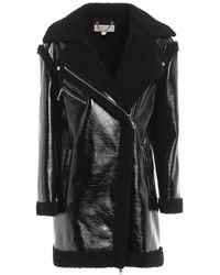 Michael Kors Biker Style Eco Shearling Coat - Black