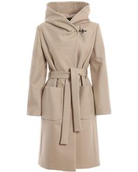 Fay Wool And Cashmere Hooded Coat - Natural