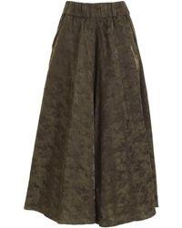 Aspesi Oversize Crop Trousers In Green
