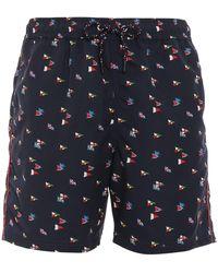 Paul & Shark Flags Printed Swim Shorts - Blue