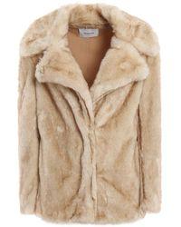 Dondup Fur Effect Light Beige Short Coat - Natural
