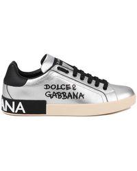 Dolce & Gabbana Metallic Calfskin Nappa Portofino Sneakers