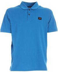 Paul & Shark - Polo azzurra con dettaglio logo - Lyst
