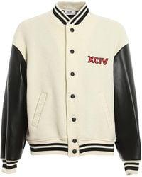Gcds Wool Blend Varsity Bomber Jacket - Natural