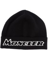 Moncler - Logo Wool-blend Beanie - Lyst