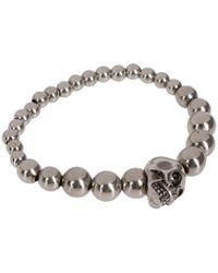 Alexander McQueen Skull Brass Elasticated Bracelet - Metallic