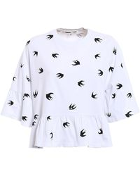 McQ Swallow Pattern Flounced Over Tee - White