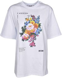 MSGM T-shirt oversize con stampa floreale - Bianco